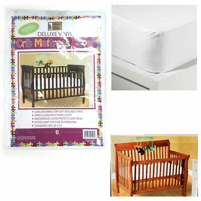 Crib Size Fitted Mattress Cover Vinyl Toddler Bed Allergy Dust Bug Protector -