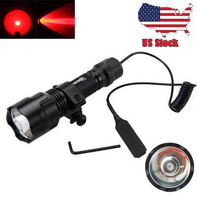 Tactical 5000LM C8 RED Light LED Hog Night Hunting Flashlight Gun W/Scope Mount