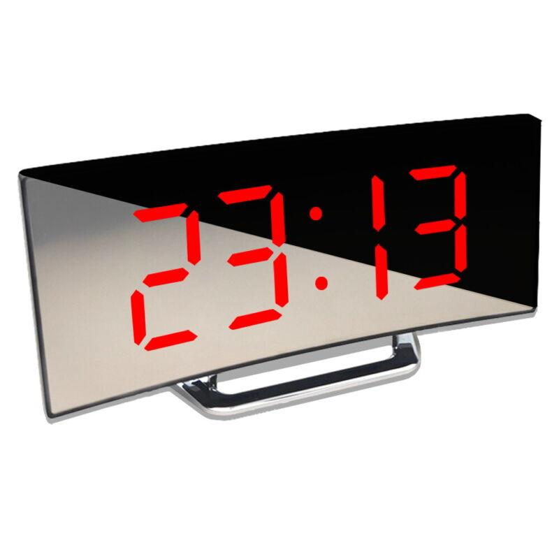 Digital Alarm Clock LED Mirror 12/24 Hour Display Temperature Snooze Display USB