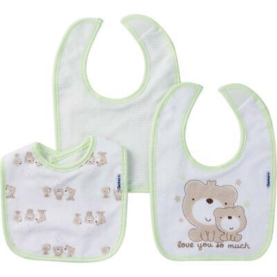 Gerber Baby 3 Pack Terry Dribbler Bib, Teddy, One Size