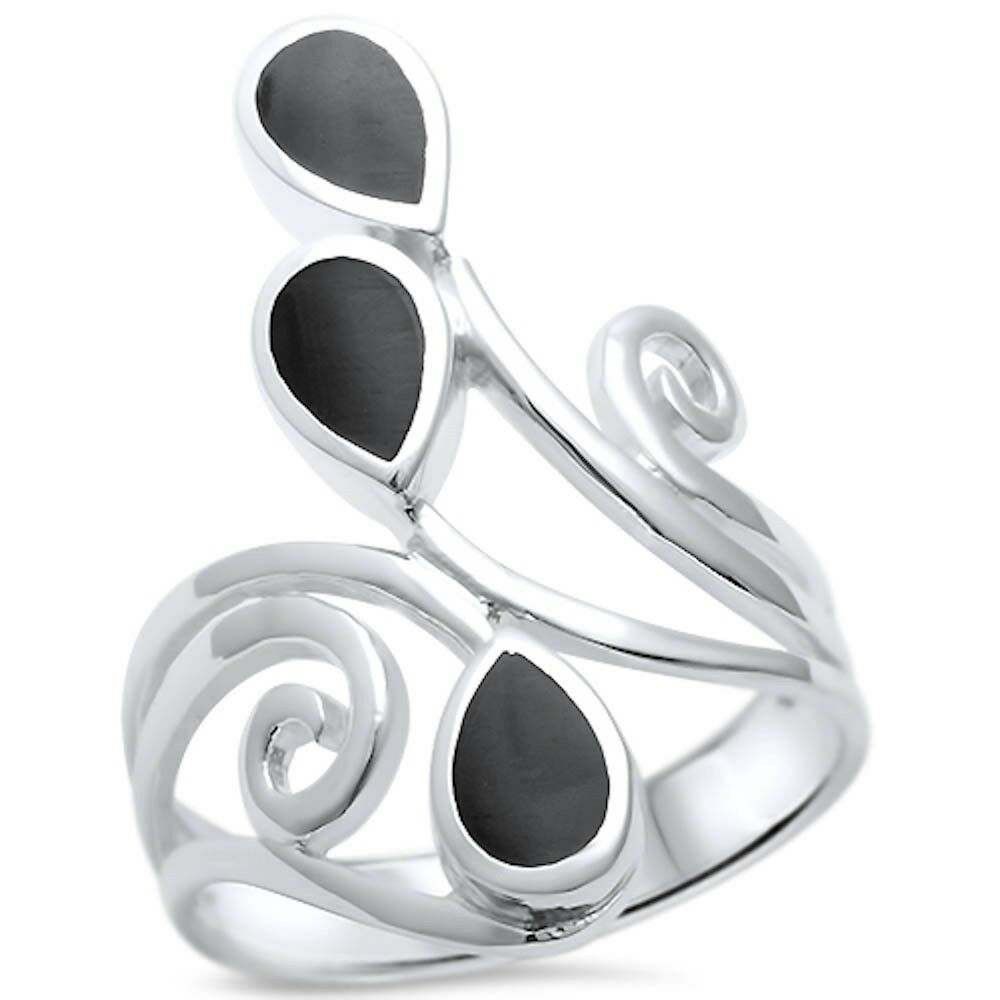 Black Onyx Wrap Around Spiral .925 Sterling Silver Ring Size