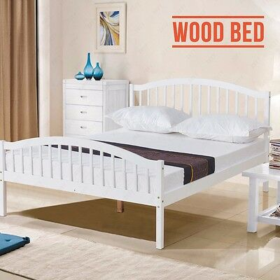 White 4FT6 Double Solid Pine Wood Bed Frame Natural Pine Bedroom Furniture