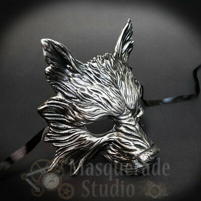 Wolf Animal Spirit Halloween Costume Wall Decoration Masquerade Mask [Silver]
