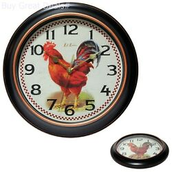 Round Wall Clock 12in Decor Kitchen Home Gift Rooster Chicken Fans New