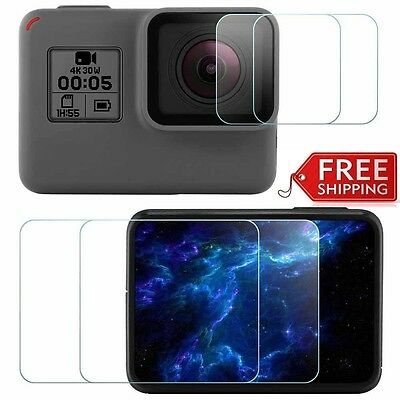 2X Gopro HERO 7 hero7 Sport Camera Screen + Lens Protector Tempered Glass Film
