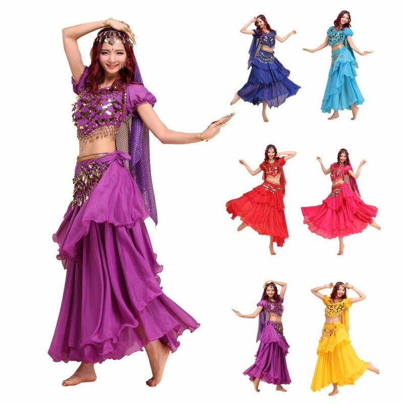 Belly Dance Costume Set Shiny Bells Top & 3 Layers Skirt &Head Veil & Hip Scarf