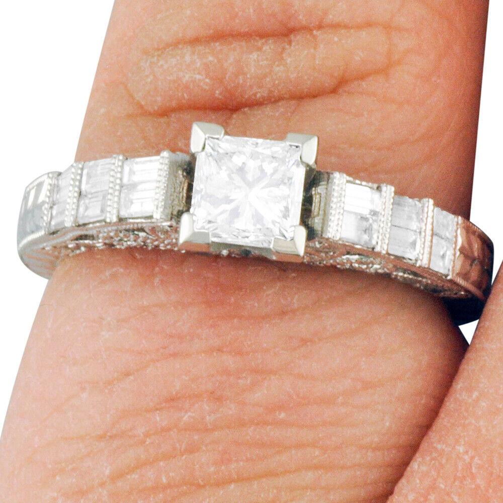 GIA Certified Diamond Engagement Ring 1.48 CTW Princess Cut 14k White Gold