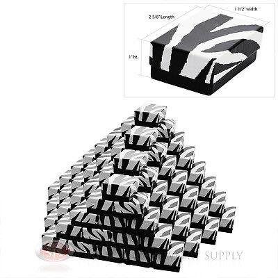 100 Zebra Print Cotton Filled Gift Boxes 2 58 X 1 12 Pendant Charm Box