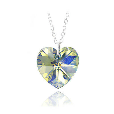 "925 Silver Aurora Borealis Swarovski Elements Heart Necklace, 18"""