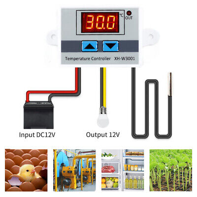 Digital Led Temperature Controller Cooling Heating Switch Thermostat Sensor Line