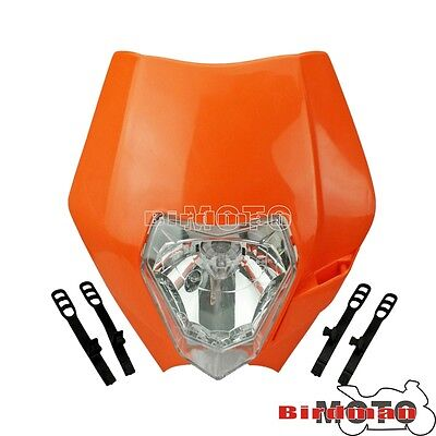 Motorcycle Street Fighter Headlight Enduro Road Legal Dirt Bike Universal Orange