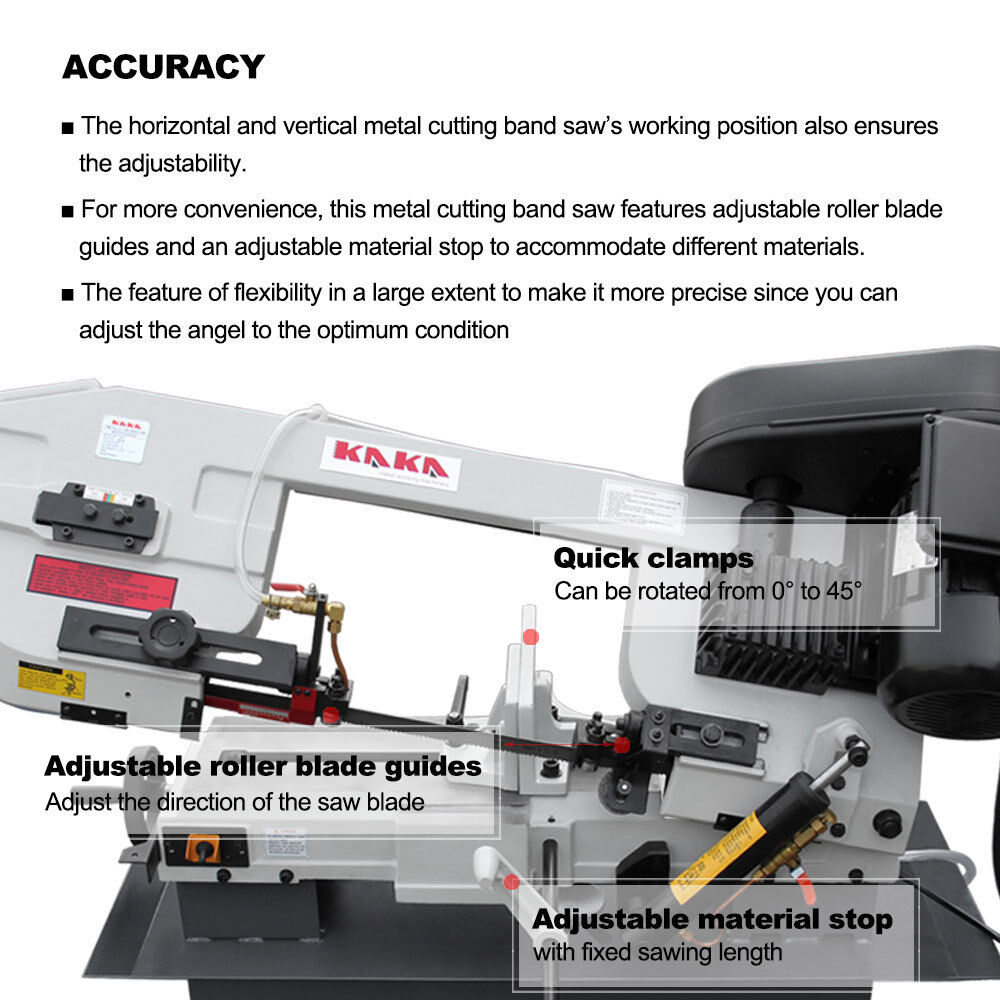Solid Construction Metal Band saw KAKA BS-712N 7x12-In Metal Cutting Bandsaw