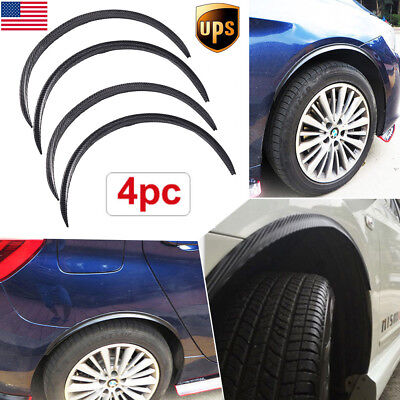 US 4× Carbon Fiber Car Wheel EyebrowArch Flares Protector Trim Lips Fender 28.7""