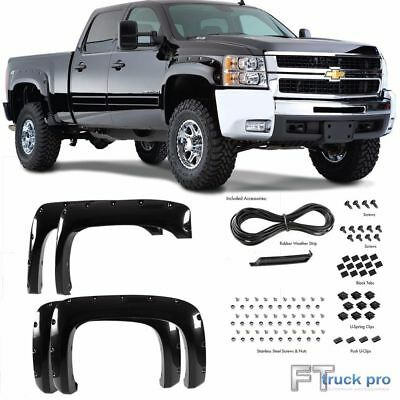 [Paintable] 2007-2013 Chevy Silverado 1500 Pocket Riveted Fender Flares Smooth