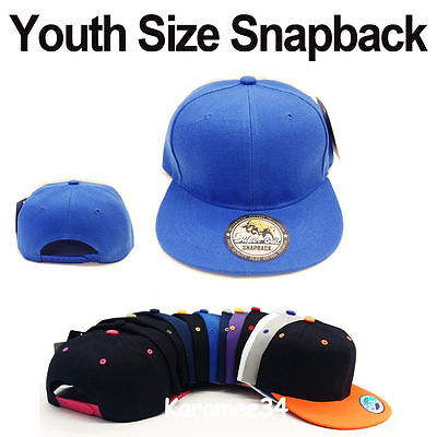 High Quality Kids Youth size snapback caps hats Blank Plain Solid