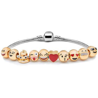 Platinum Plated Charm - 18K Gold Plated Beads Emoji Charm Platinum Bracelet Bangle Necklace Jewelry Gift
