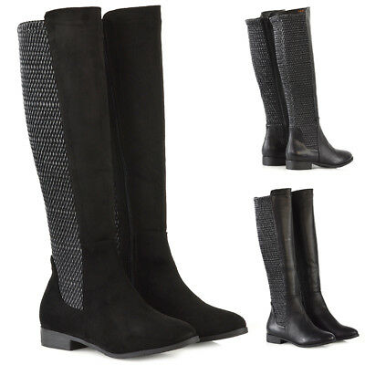 - Womens Knee High Boots Flat Low Heel Ladies Stretch Calf Zip Winter Riding Shoes