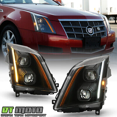 2008-2014 Cadillac CTS Halogen Black LED Switchback Signal Projector Headlights