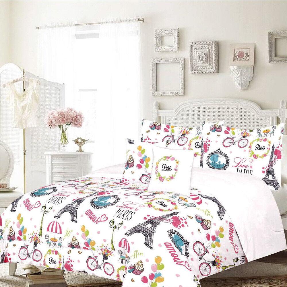 Twin or Full/Queen Paris Comforter Bedding Set Eiffel Tower Café, Pink Bedding