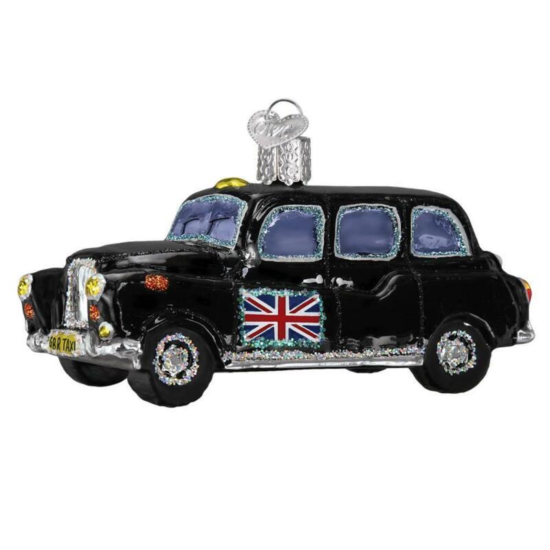 BLACK BRITISH TAXI UK BRITAIN OLD WORLD CHRISTMAS GLASS ORNAMENT NWT 46079