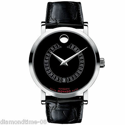 BRAND NEW MOVADO RED LABEL AUTOMATIC LEATHER STRAP MEN'S WATCH 0606158
