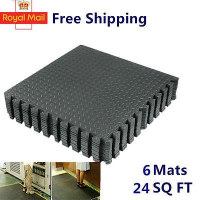 6pcs 24 Sq BLACK Eva Foam Floor Interlocking Exercise Mat Gym Playground Puzzle