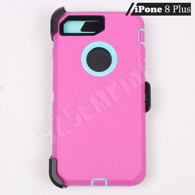 For Apple iPhone 8 Plus Pink/Teal Defender Case (Clip Fits Otterbox)