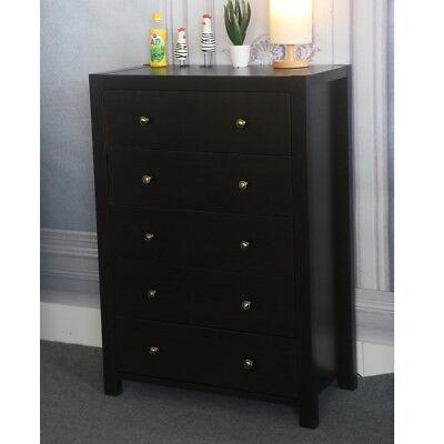 Bedroom Furniture 5 Storage Drawers Wooden Organize Chest Dresser MDF Dark Brown ()