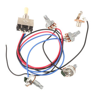 wiring harness 3 way toggle switch 2v2t 500k pots jack les paul lp guitar sg. Black Bedroom Furniture Sets. Home Design Ideas