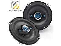 """Scosche HD6504 200w 3 Way 6.5"""" Inch Car Audio Door Shelf Speakers - Pair"""