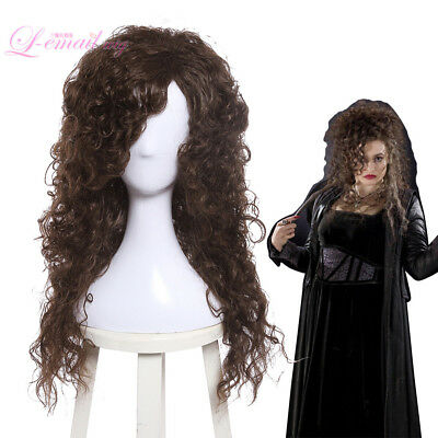 Long Brown Curly Wig Halloween (HP Bellatrix Lestrange Bella Cosplay Wig Long Dark Brown Curly Wavy)