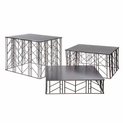 G.E. T. Square Bronze Powder-Coated Wrought Iron Metal Riser Set #IRFLW-3000 for sale  USA