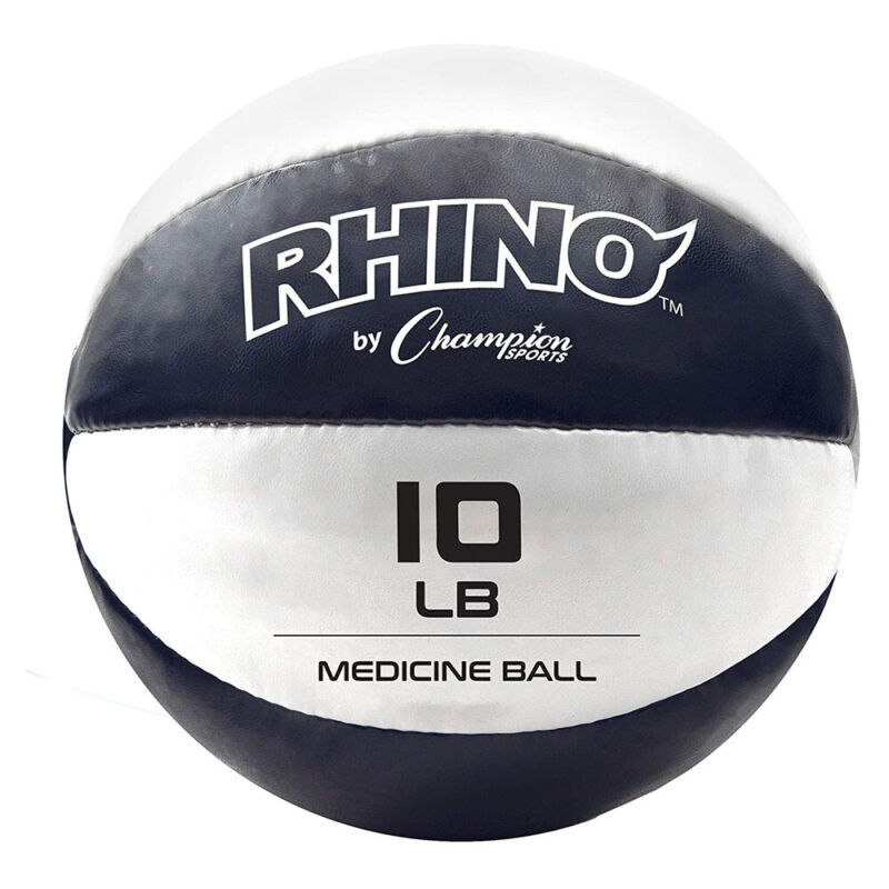 Champion Sports Rhino 10 Pound Non Slip Leather Exercise Medicine Ball, Blue