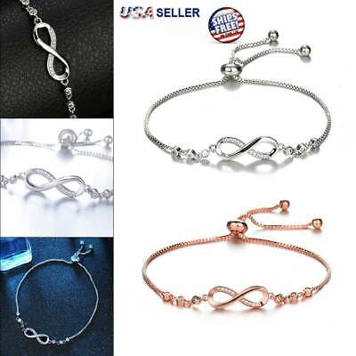 Infinity BRACELET Love Charm Stainless Adjustable Chain Womens Crystal Jewelry  ()