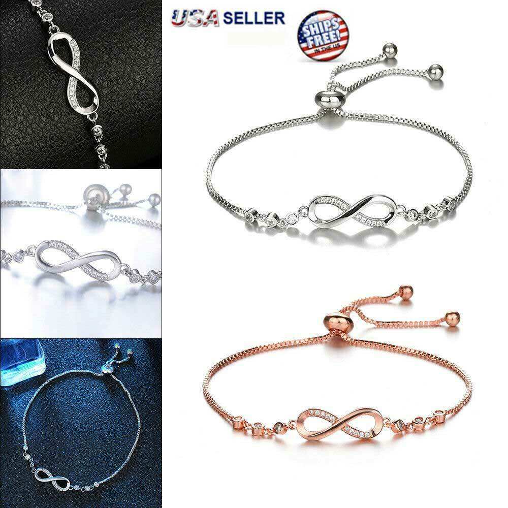 Infinity BRACELET Love Charm Stainless Adjustable Chain Womens Crystal Jewelry Bracelets