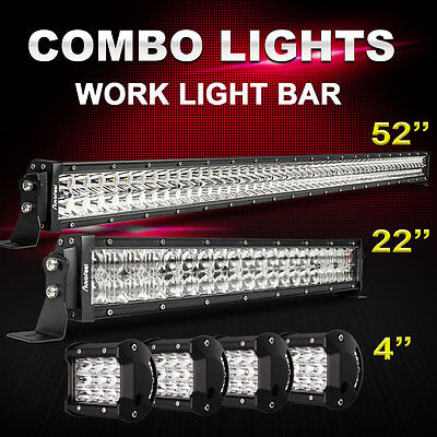 """52Inch LED Light Bar Combo + 22in +4"""" PODS 4X4WD FORD JEEP 50 Bracket Offroad PK"""