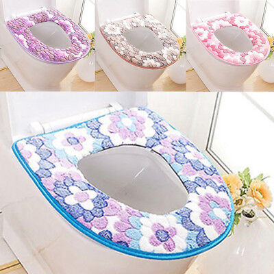 Warm Toilet Seat Covers - Flower Print Soft Warm Toilet Cover Seat Lid Pad Mat Seat Cushion Bathroom BL