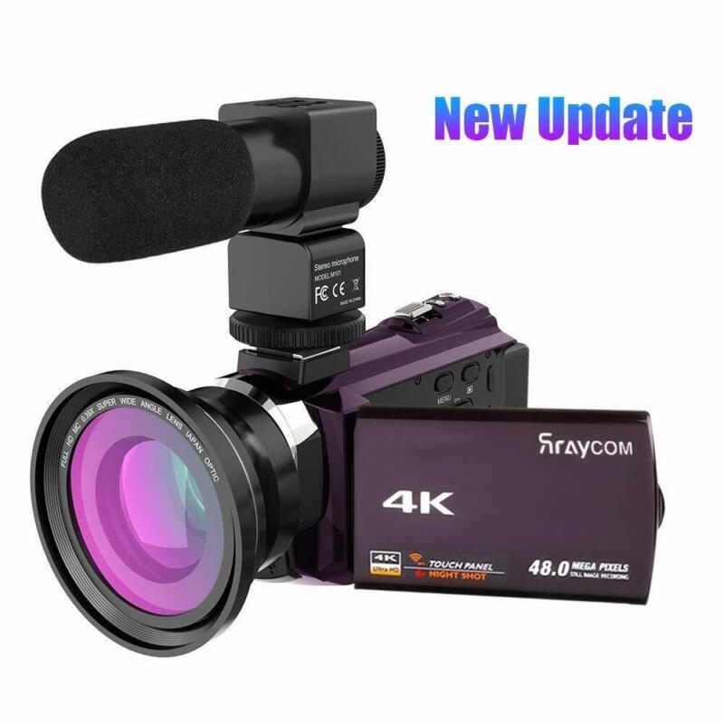 Rraycom 48MP WiFi Digital Video Camera 4K Camcorder DV Recorder & Mic & Lens a12