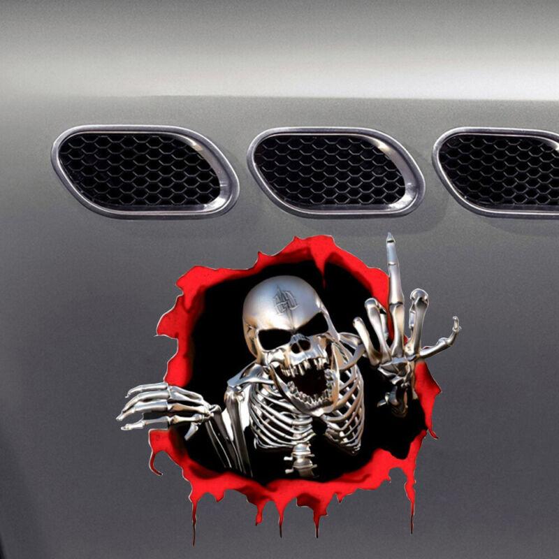 3D Metal Skeleton Skull Car Motorcycle Side Trunk Emblem Badge Decal Sticker HoT
