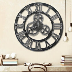 Large 3D Gear Wooden Wall Clocks Industrial Retro Outdoor Silent Roman Numerals