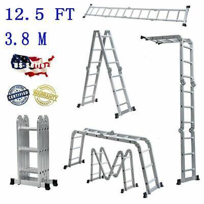 New 12.5ft Multi-purpose Aluminum Ladder Folding Step Ladder Scaffold Extendable