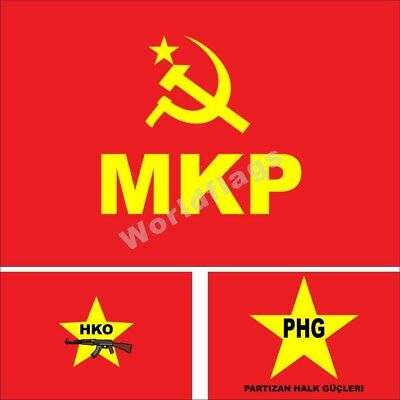 Turkey MKP Flag Maoist Communist Party HKO PHG 3X5FT Historical City Army - Party City Flags