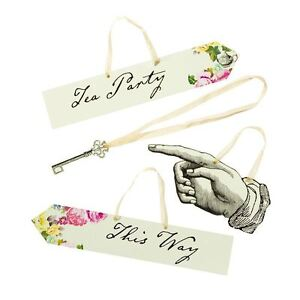 TRULY ALICE IN WONDERLAND 8 SCENE SETTER SIGNS PROPS MAD HATTER TEA PARTY
