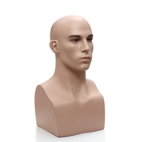 Mens Adult Fiberglass Fleshtone Realistic Mannequin Head Display