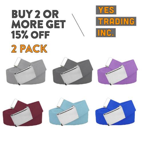 """2 Lots 56"""" Plain Adjustable Belt Canvas Military Belts Tactical Web Cotton Belt"""