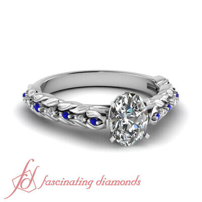 1 Ct Oval Shaped Diamond & Round Sapphire Platinum Engagement Rings For Her GIA