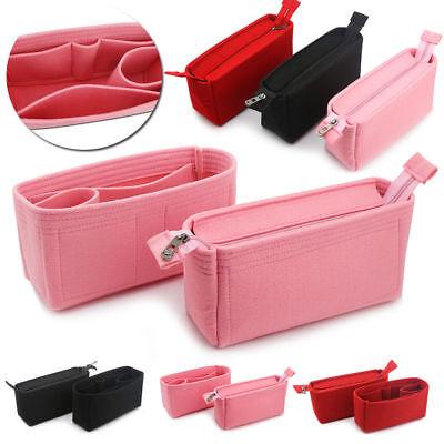 2Pcs Felt Insert Organizer Bag In Bag Handbag Multi Pocket P