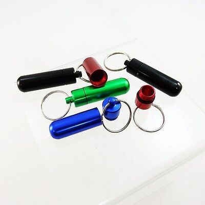 10x Aluminum Waterproof Pill Bottle Case Holder Box Container Capsule Keychain