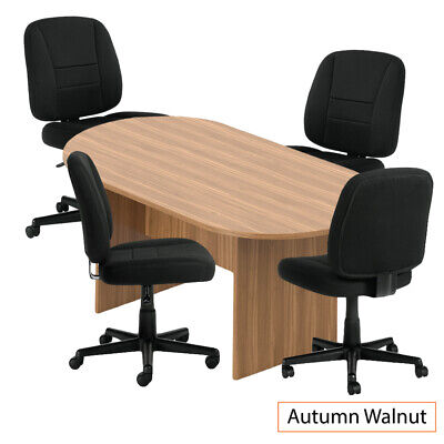 Gof 6 Ft Conference Table With 4 Chairs G11343bwalnut 5-piece Table Set