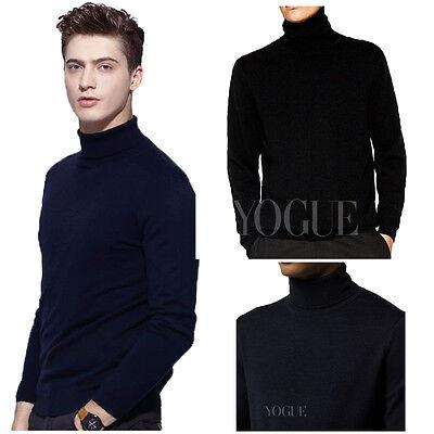 Men Turtleneck Pullover Solid Sweater Slim Fit Winter Knitwear Jumper